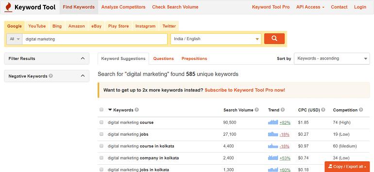 Search for digital marketing found 585 unique keywords