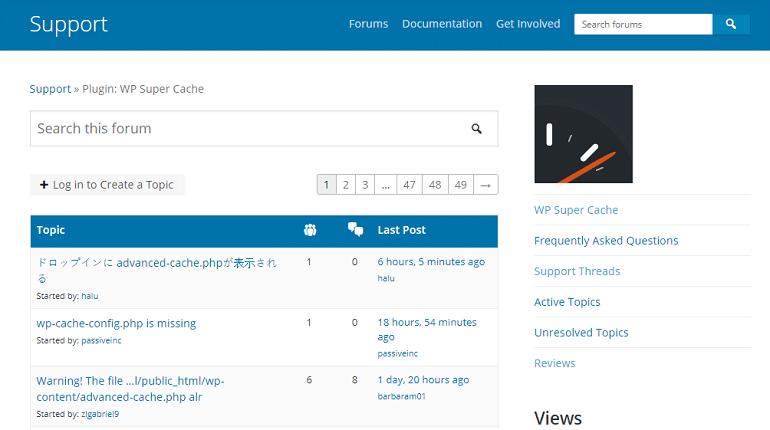 WP Super Cache Support WordPress org