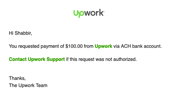 Withdraw Confirmation from Upwork