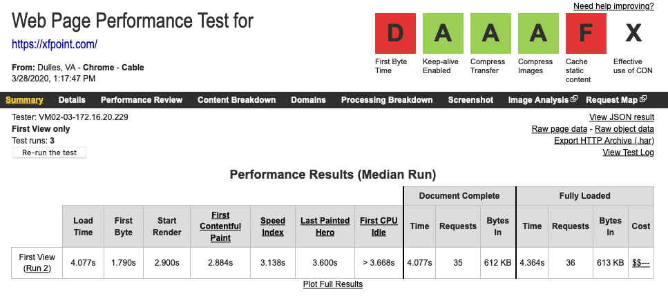 Without Caching WebPageTest