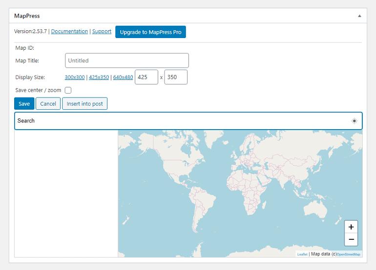 adding map using mappress plugin in wordpress