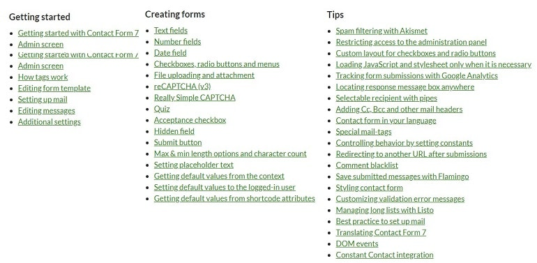 documentation Contact Form 7