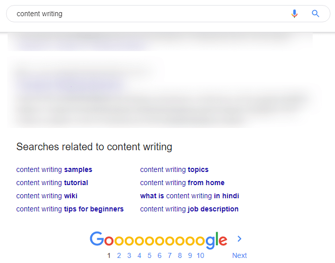 google searches related to content writing