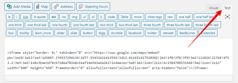 paste code in wordpress editor text tab