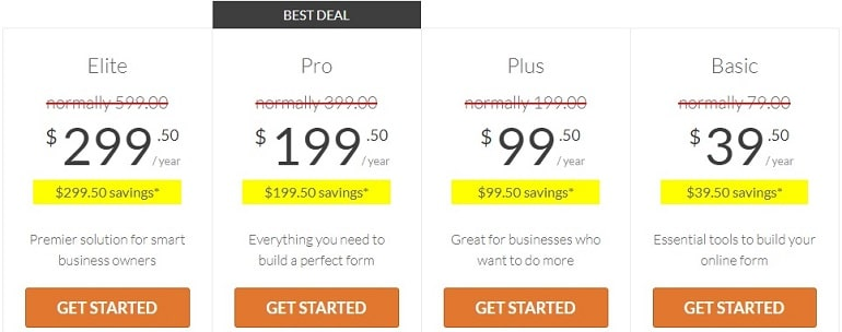 pricing plans in wpforms