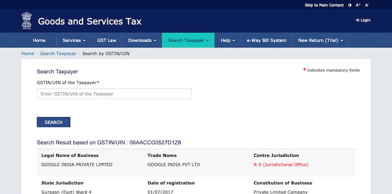 GSTIN Verification at GST.GOV.IN