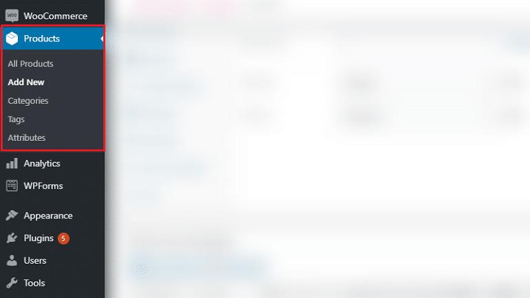 add new product option in wordpress left panel