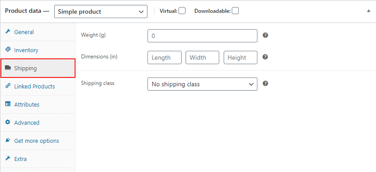 shipping details in product data