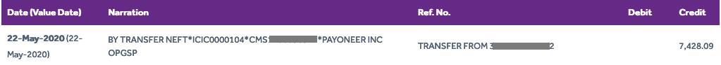 Payoneer to SBI Bank Account