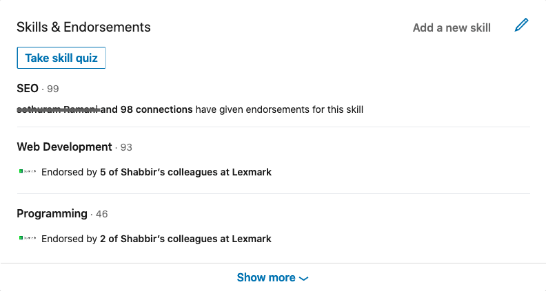 Shabbir Bhimani LinkedIn Skills and Endorsements