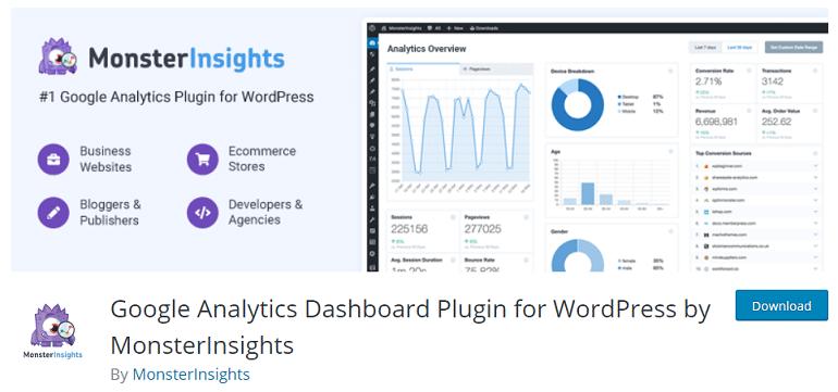 google analytics dashboard plugin wordpress woocommerce monsterinsights