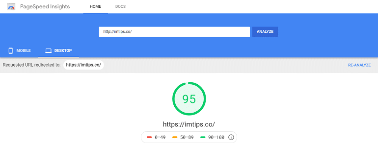 google page speed insights website testing tool