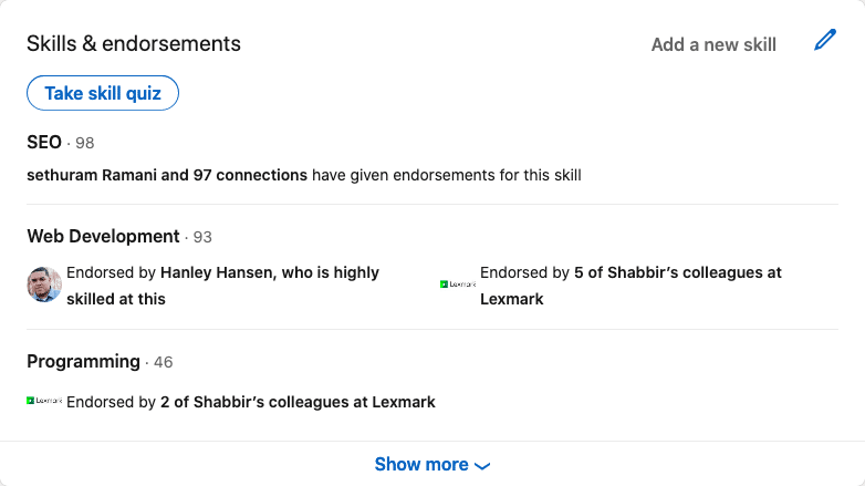 Shabbir Bhimani LinkedIn Endorsement
