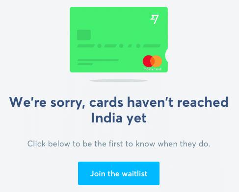 Wise Debit Card Not in India